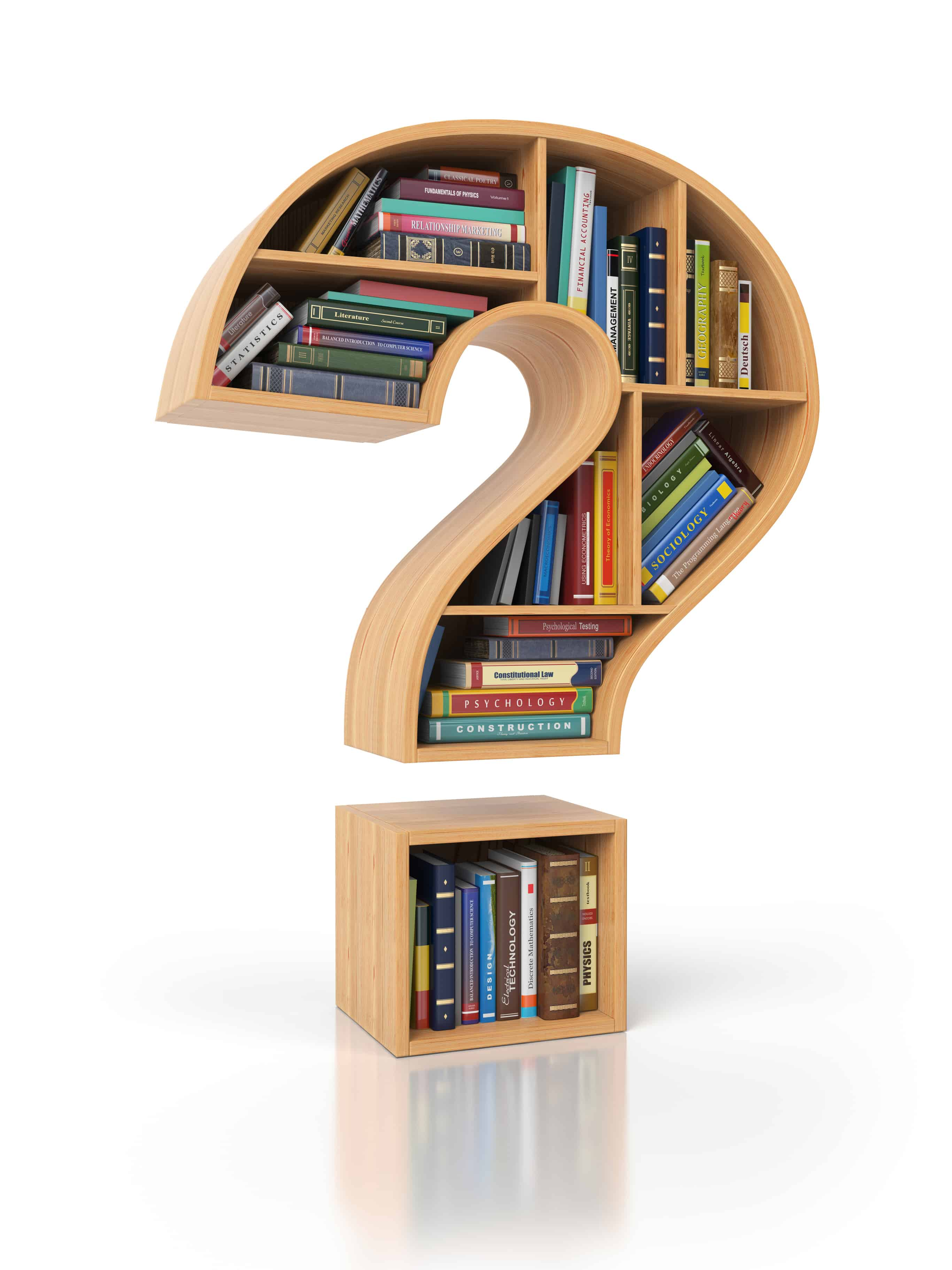 Searching information or FAQ concept. Bookshelves with books and textbooks in the shape of question mark,